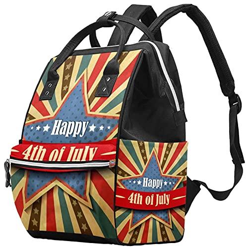 WJJSXKA Zaini Borsa per pannolini Laptop Notebook Zaino da viaggio Escursionismo Daypack per donna Uomo - vintage happy american 4 luglio