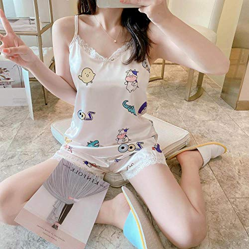 Pijama De,Pijama para Mujer Sexy Cocodrilo Y Estampado De Vaca Cabestro Suave Conjunto De Pantalones Cortos De Manga Corta, Encaje Blanco Informal Ropa De Dormir Lencería De Verano Ropa De Dormir