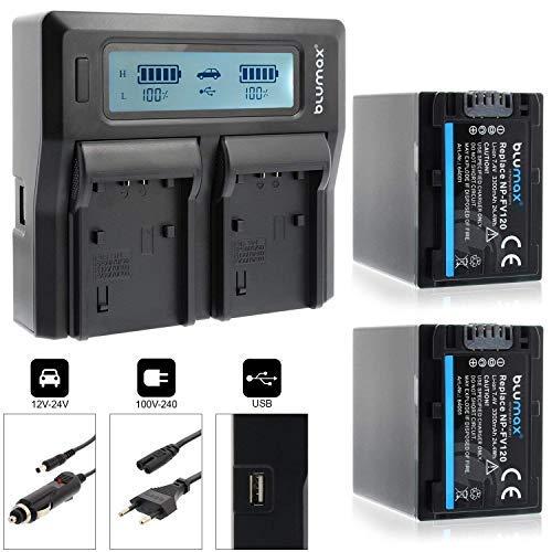 Blumax 2X Akku ersetzt Sony NP-FV120/FV100/FV70/FV50 3300mAh + Doppel-Ladegerät Dual   kompatibel mit diversen Sony Kameramodellen   2 Akkus gleichzeitig Laden