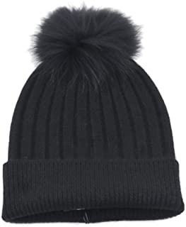 Real Fur Pom-Pom Hat 100% Pure Cashmere Cuffed Beanie•Ultimately Soft and Warm