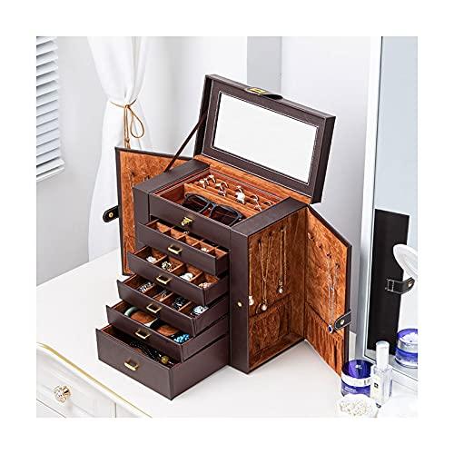 Joyero con tapa de vidrio Jewelry Box / Organizer, Caja de joyería con espejo con asa, Caja de almacenamiento de viaje de cuero suave de alta capacidad para pulseras, collares, anillos, pendientes Joy