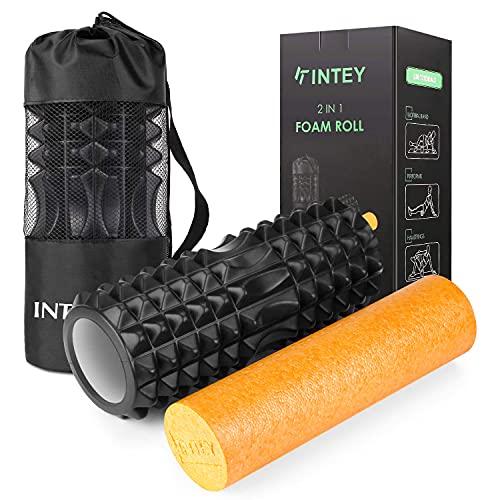 INTEY Faszienrolle Fitness Foam Roller Gymnastikrolle, Massagerolle, Schaumstoffrolle zur Triggerpunkt-Selbstmassage und Verbesserung des Bindegewebes mit Tragetasche beim Faszientraining