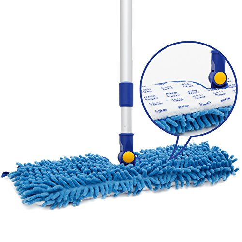 JINCLEAN 18' Microfiber Floor Mop | Dual Side Different Action Dust Mop Dry to Attract Dirt, dust, pet Hair Or Hardwood Floor Clean, Telescopic Aluminum Pole Adjust Height max 51'
