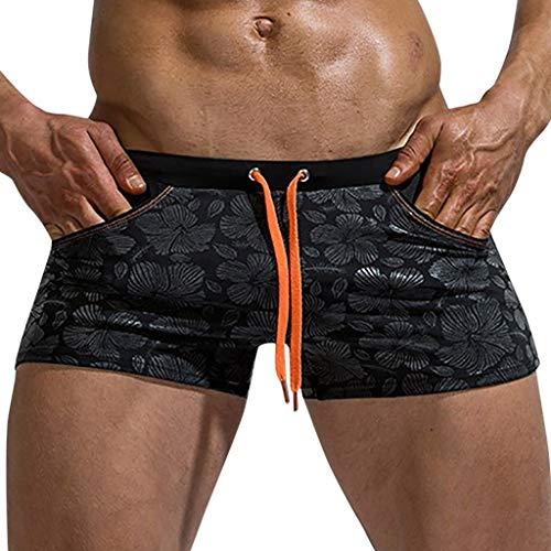 Yowablo Slips Badehose Herren Brand Stripe Nylon Breathable Bulge (M,4Schwarz)