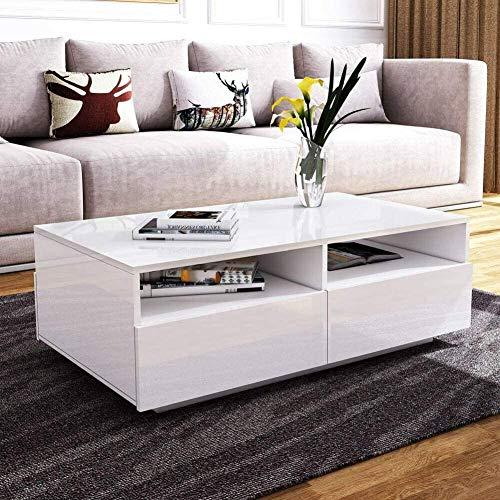 Ejoyous Couchtisch Alle Hochglanz Modern Sofa Tisch42 Schubladen mit Regalen Rechteck Tisch für Wohnzimmer Zuhause Büromöbel Dekoration mit 16 Farben LED Beleuchtung