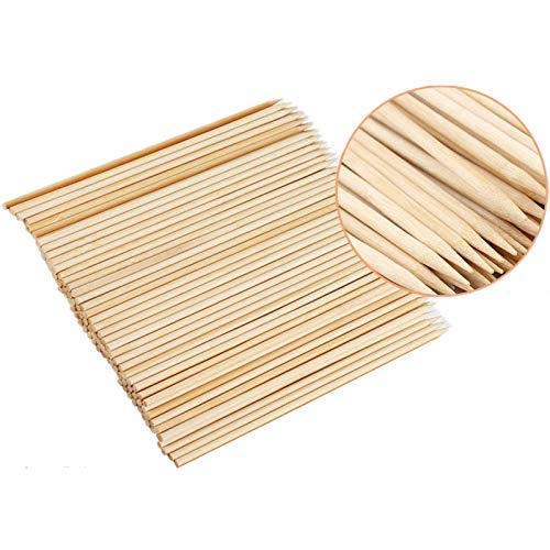 Fu Store Bamboo Skewers, 8 Inch Bamboo Sticks Shish Kabob Skewers,Grill, Appetizer, Fruit, Corn, Chocolate Fountain, Cocktail, Art, Set of 100 Pack,with Free 10 Pairs of Gloves