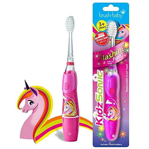 Brush Baby KidzSonic Toddler and Kid Electric Toothbrush for Ages 3+ Years - Disco Lights, Gentle Vibration, and Smart Timer Provide a Fun Brushing Experience - Unicorn