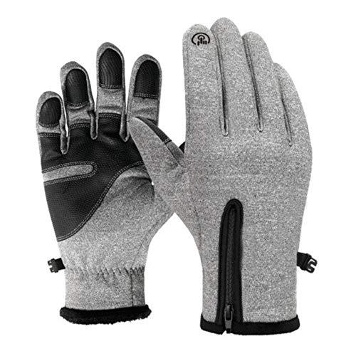 Unisex Winter Warme Handschuhe Thermische Outdoor-Sportarten wasserdichte Winddichte Reithandschuhe Touchscreen-Induktion Vollfingerhandschuh - Grau, S,