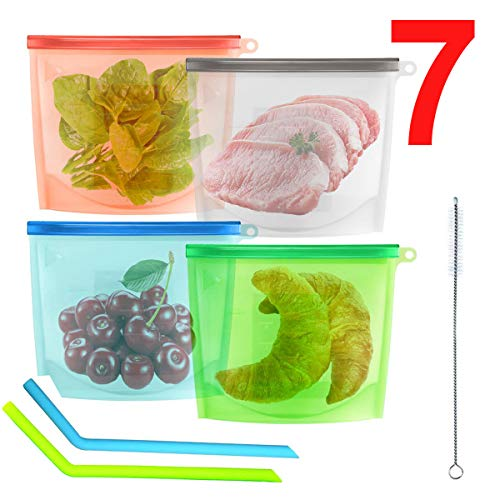 4 Bolsa Silicona Reutilizable Zip Comida Trabajo Fruta