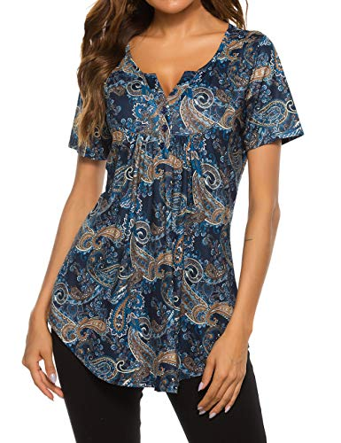 Womens Plus Size Floral Blouses Henley V Neck Button Up Tunic Tops Pleated Flowy Short Sleeve T...
