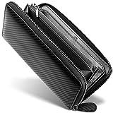 [ GRACE ] 財布 メンズ ラウンドファスナー イタリアン カーボンレザー 長財布 (ブラック/ブラック)