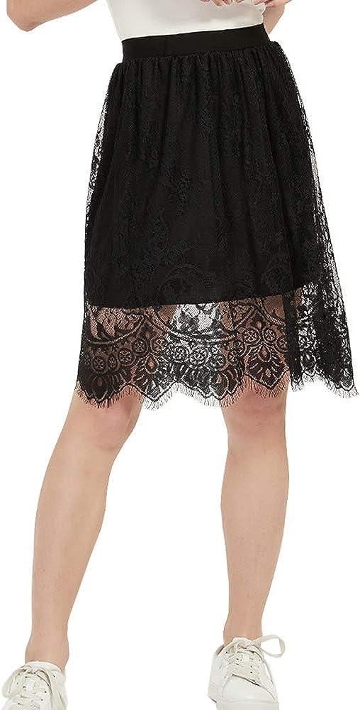 VNOEVW Women's Girls Mini Elastic High Waist Casual Pleated A-Line Goth Lace Skirt