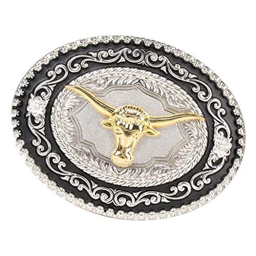 P Prettyia Hebilla de Cinturón en Relieve Patrón de Caballo Estilo Western Cowboy para Hombres - Long Horn Bull