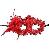 Modaworld Donna Maschera di Carnevale/Fiorito con Pizzo Maschera Veneziana/Maschera Halloween Festa/Maschera Occhi Sexy/Maschera Erotica/Maschere per Natale Palla