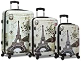 Dejuno 3-Piece Printed Lightweight Hardside Spinner Upright Hard Case Luggage Set - Paris Stamp (Cream)