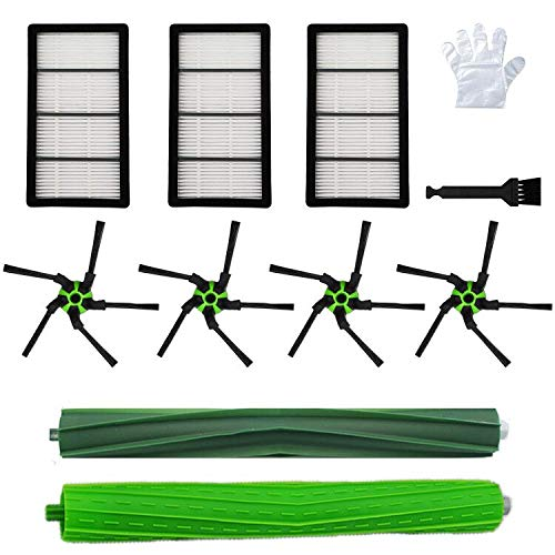 BBT BAMBOOST Replacement-Parts Compatible with Roomba S-Series iRobot Roomba S9 (9150), S9+ Plus(9550),(3 Filters,4 Corner Brushes, 1 Set of Multi-Surface Rubber Brushes),Green-4646124
