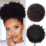 6'(15cm) SEGO Moño Postizo Pelo Natural [Afro Kinky Curly Bun Updo Chignon] #1B Negro Natural Extensiones de Cabello Humano Coleta Postiza Pulucas (M-65g)