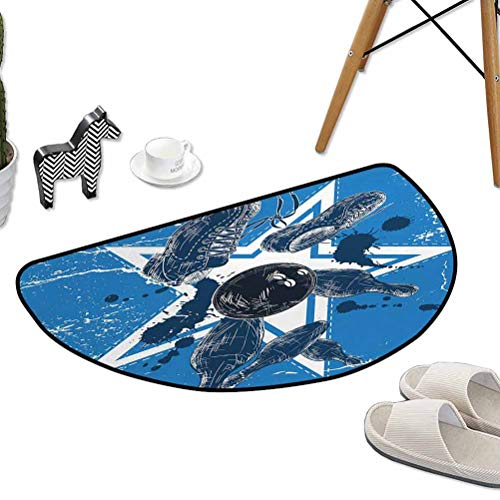 "Kitchen Living Room Floor Mat Grunge Composition with Star Color Splashes Shoes and Pins W31""x L20"" Half Round Best Floor mats"