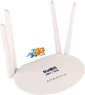 LTE CPE SIM Card Router KuWFi 300Mbps Unlocked 4G LTE CPE Router with SIM Card Slot with with Powerful 4pcs Non-Detachable...