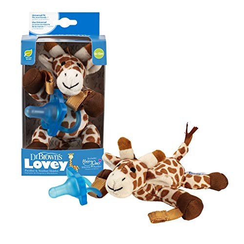 Dr. Brown's Lovey Pacifier and Teether Holder, 0 Months Plus, Giraffe with Blue Pacifier