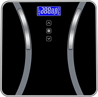 Scale Multipurpose Accurate Body Bathroom Fat Scale Display Seven Ttems Of Data 180KG/400 Pounds support (Color : Black)