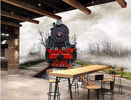 3d muurschildering behang voor woonkamer muur 3d foto behang trein herstellen oude manier foto muurschildering-400 * 280cm
