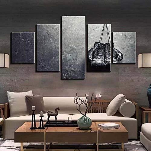 5 Teile Bild Auf Leinwand Leinwandbilder Boxhandschuhe Boxer, Box Wandkunst Tapete Dekorative Wandbild Für Wohnzimmer Home Decor 100X55 cm (Mit Rahmen)