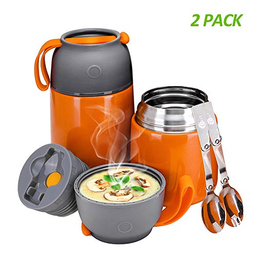 YGJT Thermobehälter im Set(500ml & 700ml) mit faltbaren Löffel und Gabel für Kinder/Erwachsene, Edelstahl Isolierbehälter für Mittag Essen, Speißen, Suppe, Babynahrung, Joghurt (Orange)