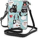 Moda Teléfono Celular Bolso Negro Y Blanco Gatos Pequeños Crossbody Bolsas Mujeres Chica Pu Bolso de Hombro Bolso