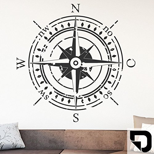 DESIGNSCAPE® Wandtattoo Himmelsrichtungen | Wandtattoo Kompass 58 x 58 cm (Breite x Höhe) schwarz DW807374-S-F4