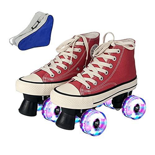 Roller Skates for Women Men Outdoor Size 55 11 Double Row Canvas Roller Skates Four Wheel Flash Wheel Breathable Soft Comfortable Durable Safe PurpleBlueYellowRedWhite