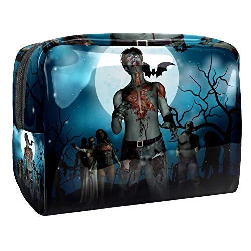 Zombies Dead Men Walking Body In The Doom Mist At Night Sky - Bolsa organizadora de maquillaje para mujer, kit de viaje con cremallera multifunción