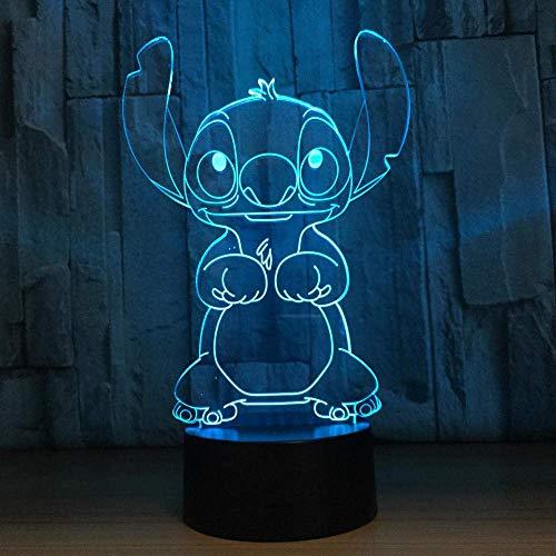 USB LED Bluetooth Night Light3D Illusion Lamp Led Night Light Cute Stitch 7 Cambio de color Baby Sleep Lámpara de mesa Decoración para el hogar Vacaciones Niños Año nuevo Regalo de Navidad
