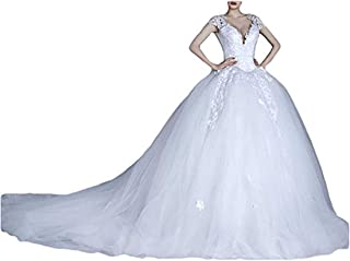 OYISHA Womens Sweetheart Ruffled Mermaid Wedding Bridal Dresses with Train WD43