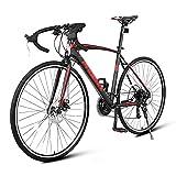 AZD Road Bike, 27,5 in Leichter Stahlrahmen Rennrad 21 Geschwindigkeitsscheibenbremse 700C Räder Full Suspension Bike Road Fahrräder Pendlerräder Für Mens/Womens