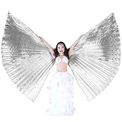 Andouy Ägyptisch Ägypten Bauchtanz Kostüm ISIS Flügel Kleidung mit Teleskopstock Karnevals Halloween Party Leistung(120CM.Silber-2)
