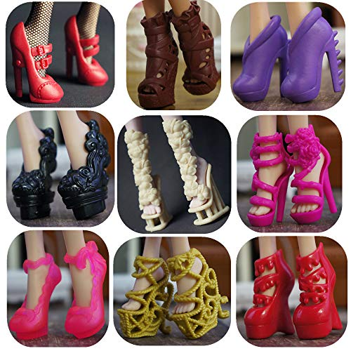 DoubleWood 10 Pairs Assorted Doll Shoes Replacement for Monster High Doll Fashion High Heels Sandals Boots Shoes Pack Accessories Gift