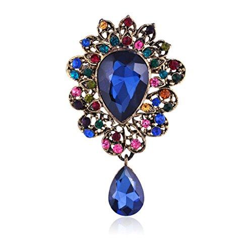 Bonarty Bufanda de Boda Azul Multicolor Crystal Rhinestone Broche Pin Broches Broche