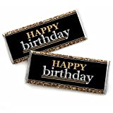 Adult Happy Birthday - Gold - Candy Bar Wrappers Birthday Party Favors - Set of 24