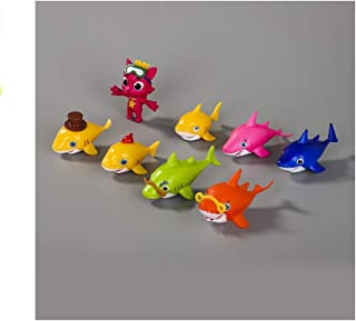 CheeseandU The Shark Family Baby Shark Figure Cake Toppers Set of 8 Cartoon Mini 3.5cm Shark Cake Decoration PVC Shark Figure Toy Best Kids Birthday Gifts Baby Shark Party Favor Supplies
