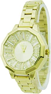 sunex watch for women, analog, stainless steel, gold, gold dial, S6506GG