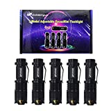 5 Pack Mini Led Flashlights,Goldenguy 300lm Adjustable Focus Zoomable Q5 Tactical Emergency lights