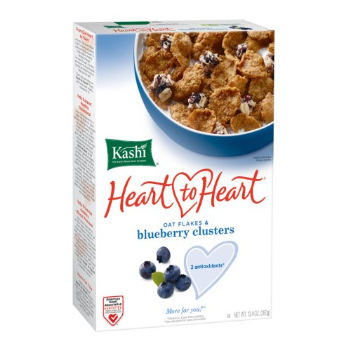 Kashi Heart to Heart Oat Flakes and Blueberry Clusters Cereal, 13.4-Ounce Boxes (Pack of 6)