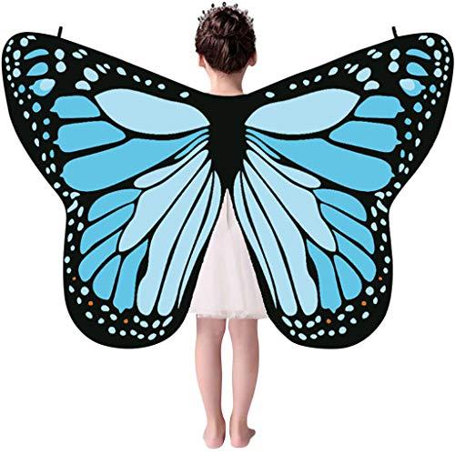 Auiyut Frauen Kinder Schmetterling Kostüm Butterfly Wings mit Schwarzem Kragen Schal Ladies Karneval Flügel Umhang Poncho Kostüm Zubehör für Show Daily Party Halloween (B-Hell blau, FREIE GRÖSSE)