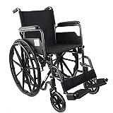 Mobiclinic, modelo S220, Silla de ruedas plegable premium, autopropulsable, ortopédica, para minusválidos, reposapiés y reposabrazos extraíbles, color Negro, asiento 46 cm, ultraligera