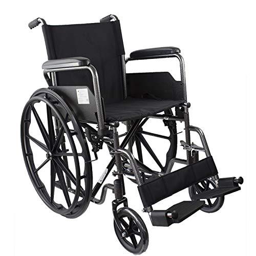 Modelo S220 | silla de ruedas de acero plegable con asiento de 46 cm | Ruedas robustas | Reposapiés y reposabrazos extraíbles | Con bolsillo trasero | Comodidad 100%
