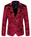 MAGE MALE Men's Dress Party Floral Suit Jacket Notched Lapel Slim Fit Two Button Stylish Blazer Red
