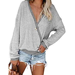 Women's Deep V Neck Wrap Sweaters Long Sleeve Waffle Knit Pullover Tops Shirts