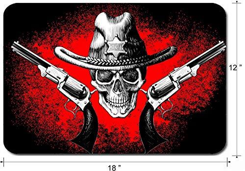 Großes Mauspad Rutschfestes Gummi-Gaming-Mousepad,Schreibtischmattenschädel Tragen Eines Cowboyhutes Mit Zwei Pistolen Auf Dem Schwarzen Und Roten Hintergrund 30X25CM,Maus Mausunterlage,Rutschfeste