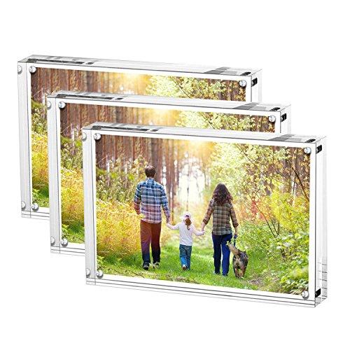 Porta foto in acrilico trasparente, 10 x 15 cm, Porta foto magnetico, porta foto da tavolo senza cornice (10 x 15 cm confezione da 3)